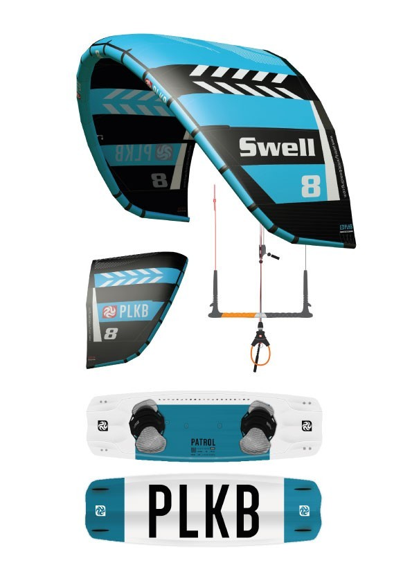 Kite Pack Peter Lynn SWELL V4 (15m) + pumpa + Bar Navigator V6 + kiteboard Patrol V2
