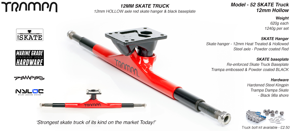 Truck Trampa SKATE solid 12mm (Titan. King Pin) (620g)