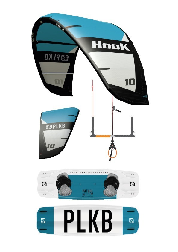Kite Pack Peter Lynn HOOK V2 (08m) + pumpa + Bar Navigator V6 + kiteboard Patrol V2
