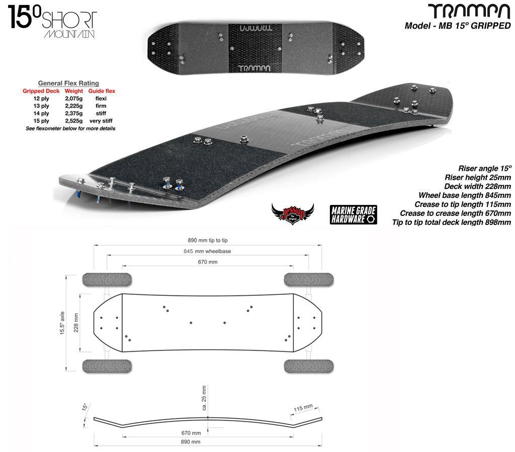 Mountainboard Trampa Deck SHORT 15° Truck SKATE 9,5 Hubs HYPA ARMY (5850g)